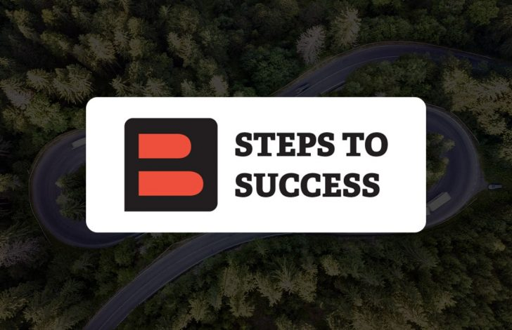 winding roads underneath steps to success logo
